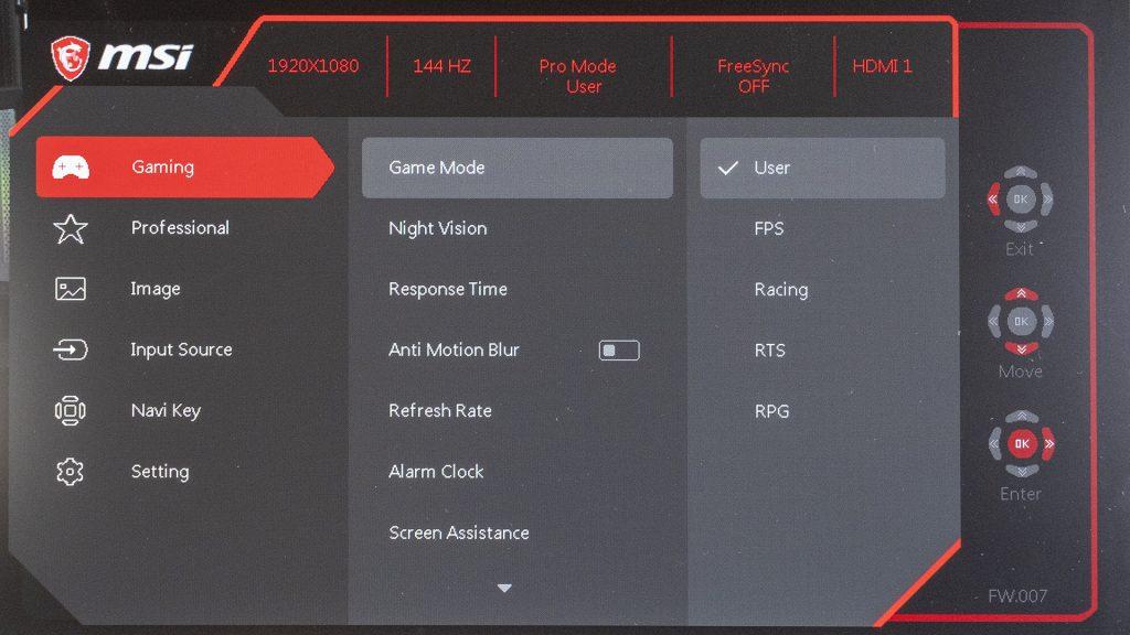 MSI Optix G271 Gaming Monitor Menü OSD
