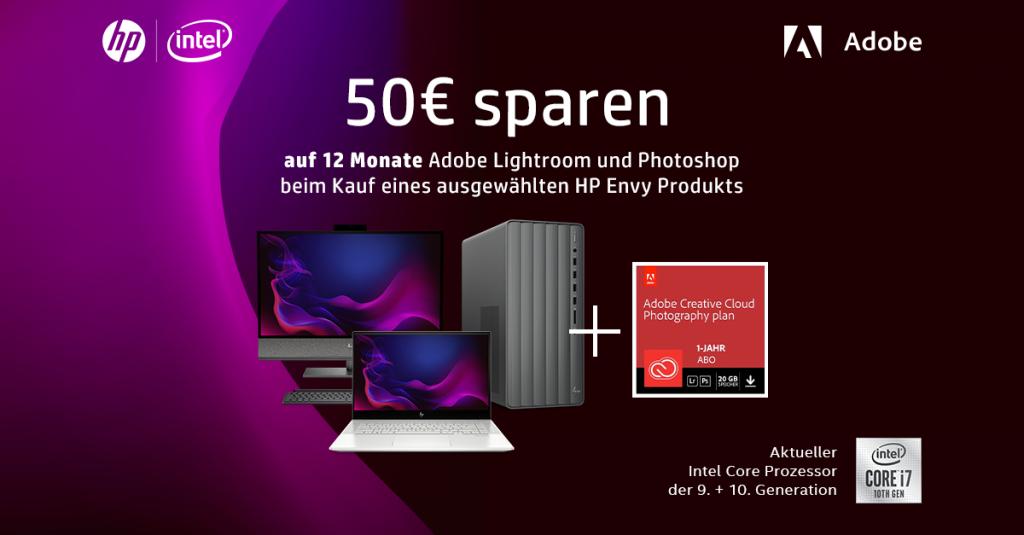 Ausgewähltes HP ENVY-Produkt kaufen und beim Adobe Creative Cloud Foto-Abo sparen