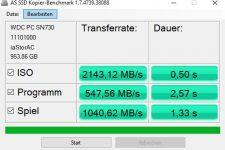 AS SSD Kopier Benchmark MSI Trident X Plus