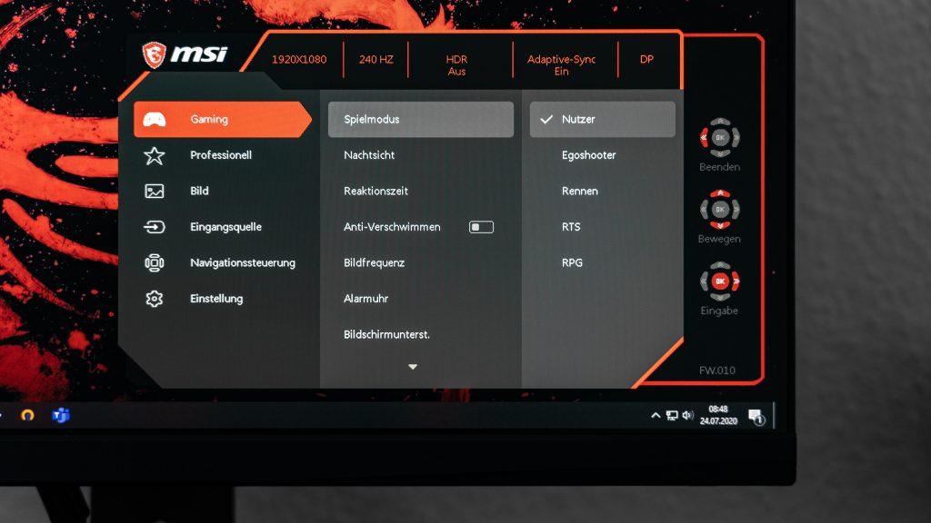MSI Optix MAG251RX Gaming-Monitor OSD