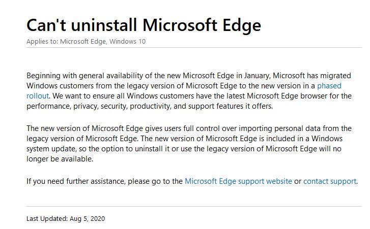 Microsoft Edge Support Windows 10