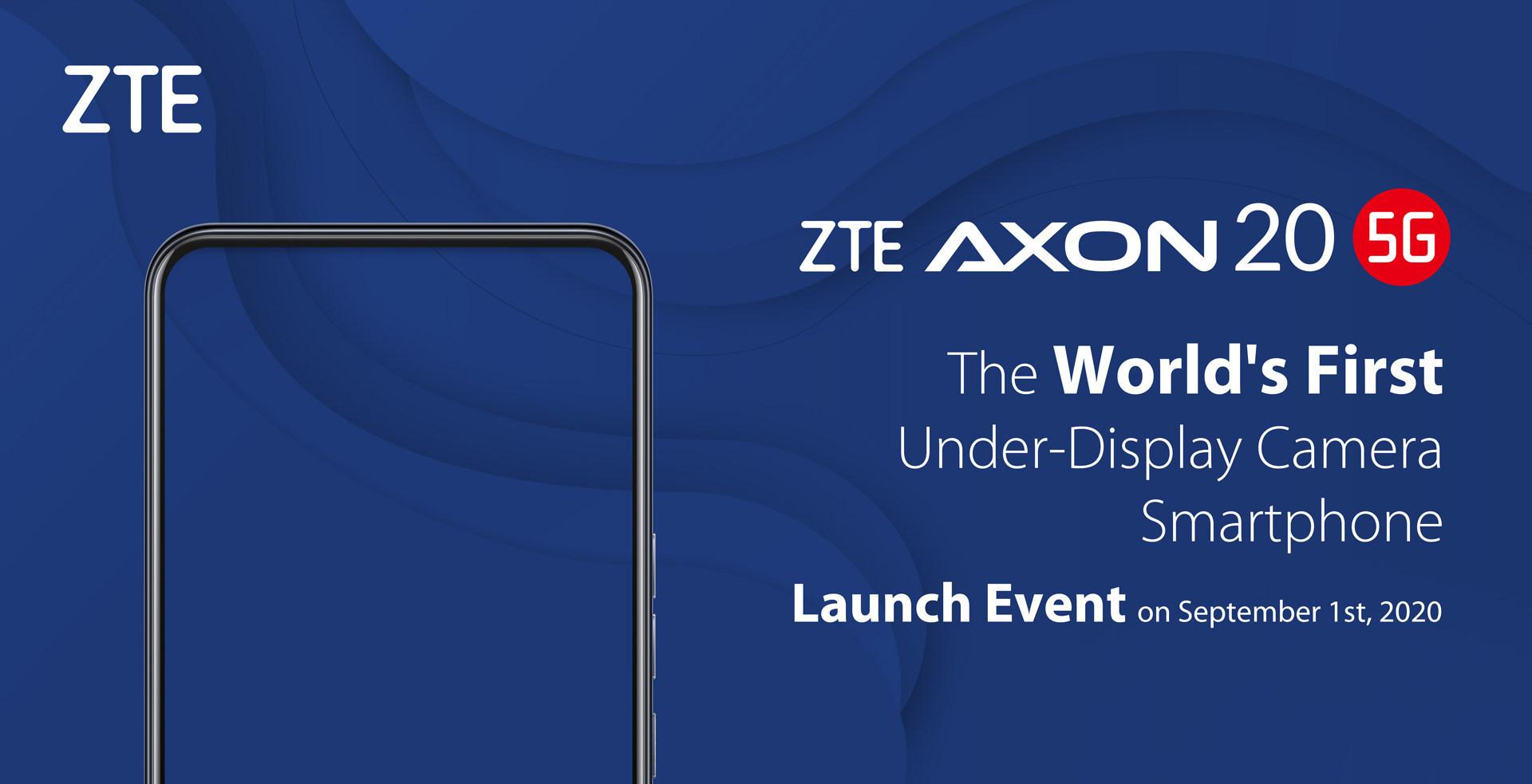 ZTE Axon 20 5G mit Frontkamera unter dem Display wird am 1. September vorgestellt