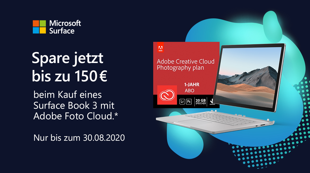 Bundle-Aktion: Kostenloses Adobe Creative Cloud Foto-Abo beim Kauf eines Surface Book 3