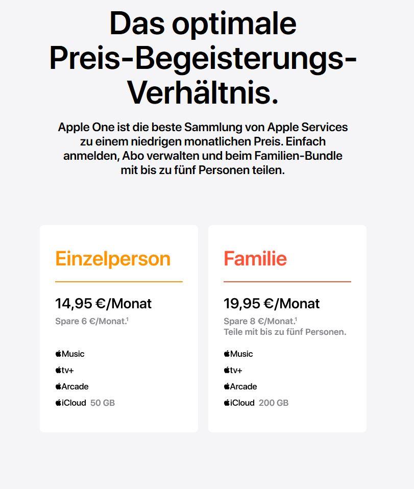 Apple One Dienste Deutschland Preise