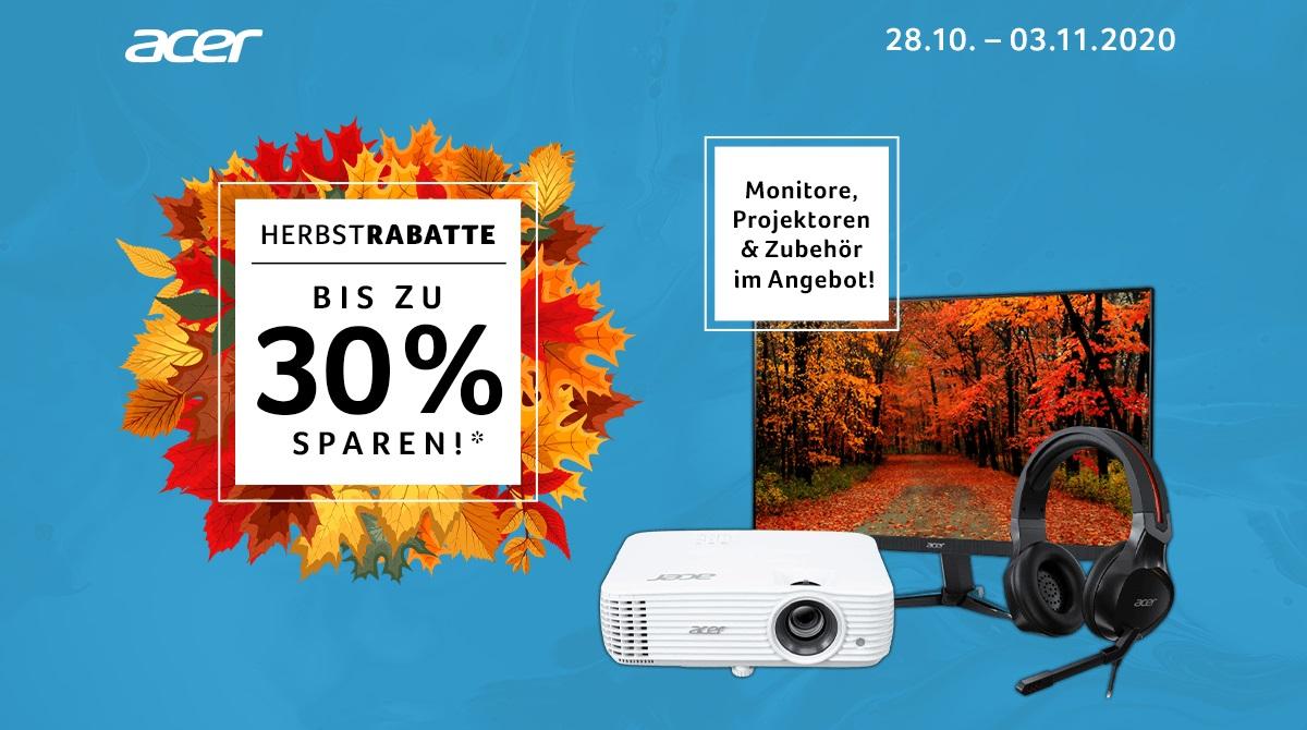 Acer Herbstrabatte: Spare bis zu 30% auf Monitore, Beamer & Zubehör