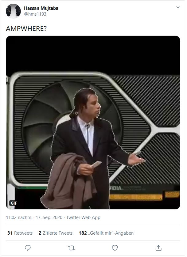 Nvidia RTX 3080 Ampere Ampwhere Hassan mujtaba on twitter
