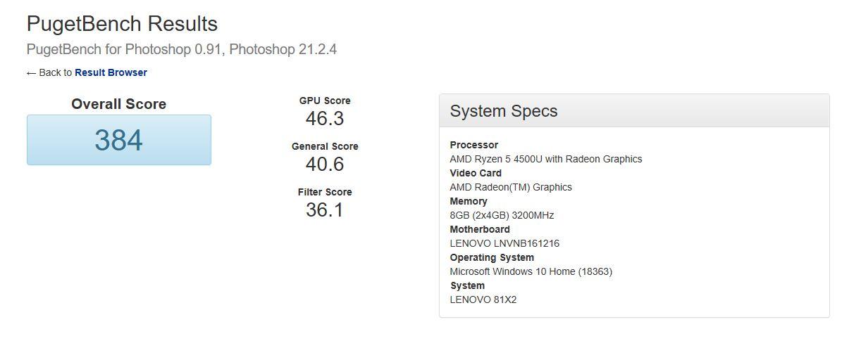 Puget Systems Photoshop Benchmark 2020 Lenovo IdeaPad Flex 5
