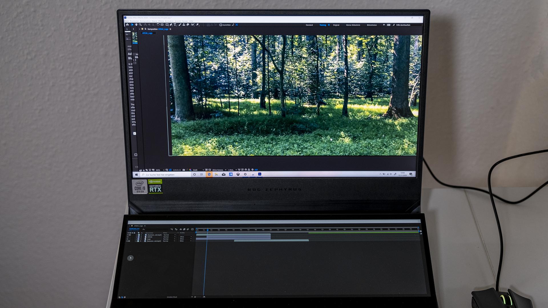 ASUS ROG Zepyhrus DUO 15 GX550 Zweitdisplay After Effects Workflow