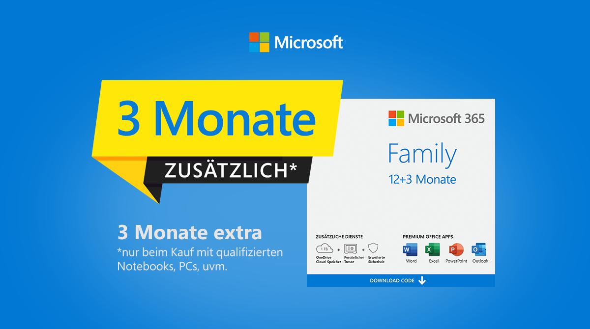 Microsoft 365 Family: 3 Monate gratis beim Kauf eines qualifizierten Artikels