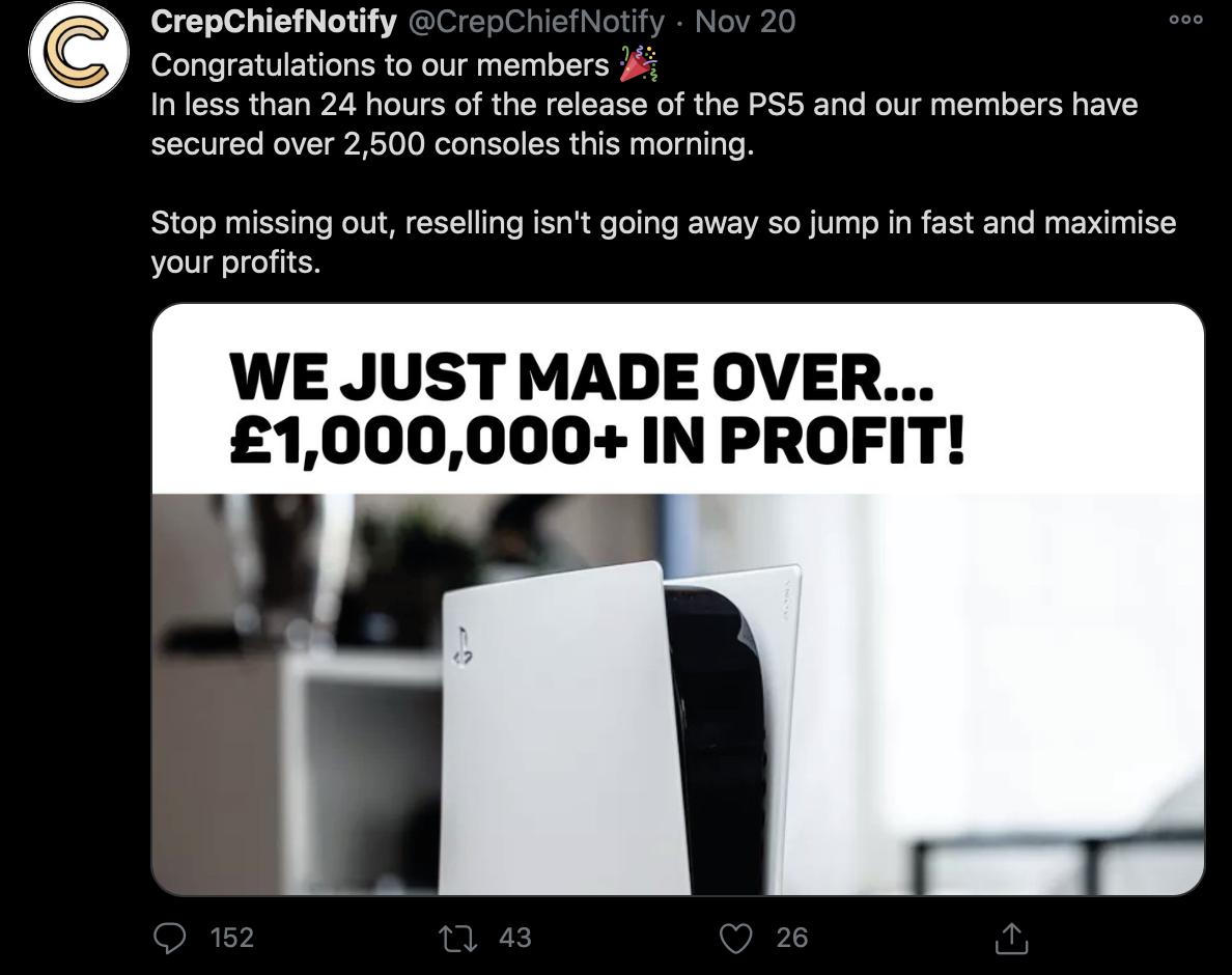 PlayStation 5 Scalper profit