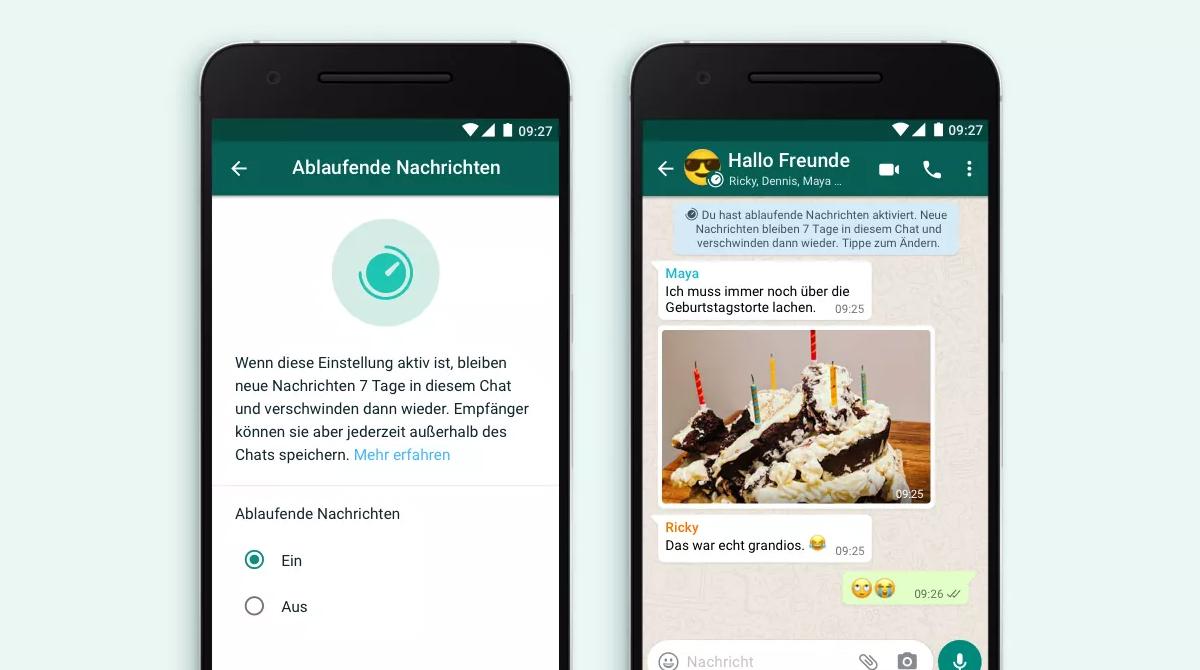 whatsapp führt sich selbst löschende naxchrichten ein