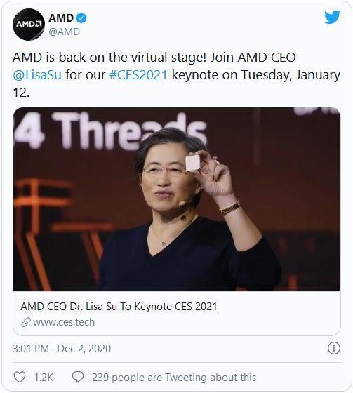 AMD Lisa Su Keynote CES 2020 Twitter