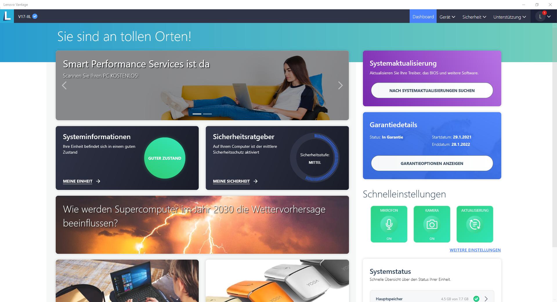 Screenshot Lenovo Vantage