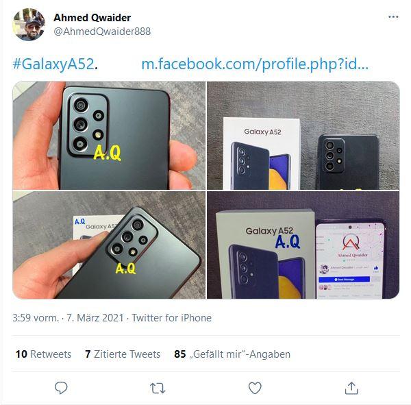 Ahmed Qwaider on Twitter Samsung Galaxy A52 Leak