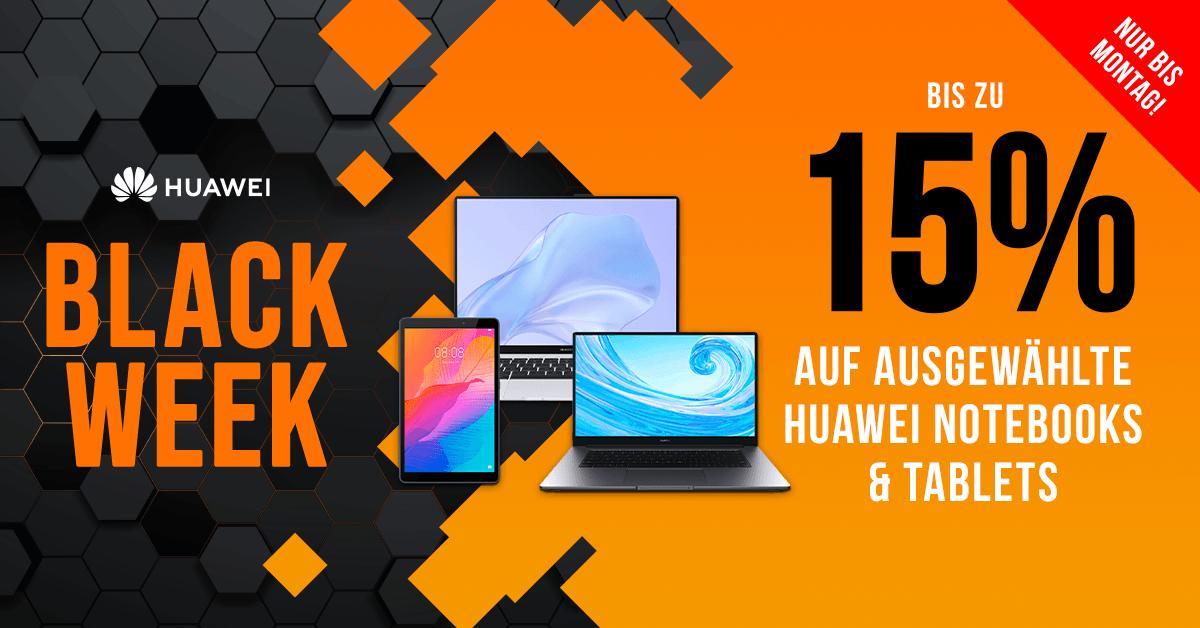 Spare bei der Black Week bis zu 15% auf ausgewählte Huawei-Notebooks & -Tablets