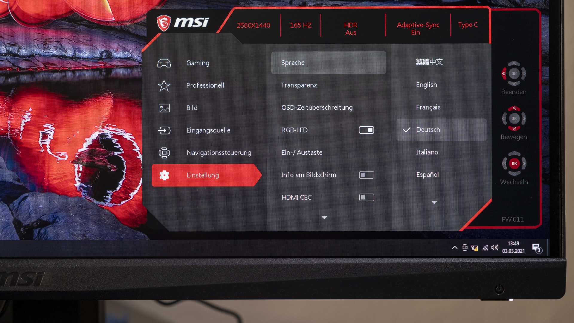 MSI Optix MAG274QRF-QD OSD 6