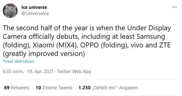 Ice Universe auf Twitter.com Under Display Camera Xiaomi Samsung ZTE OPPO Vivo