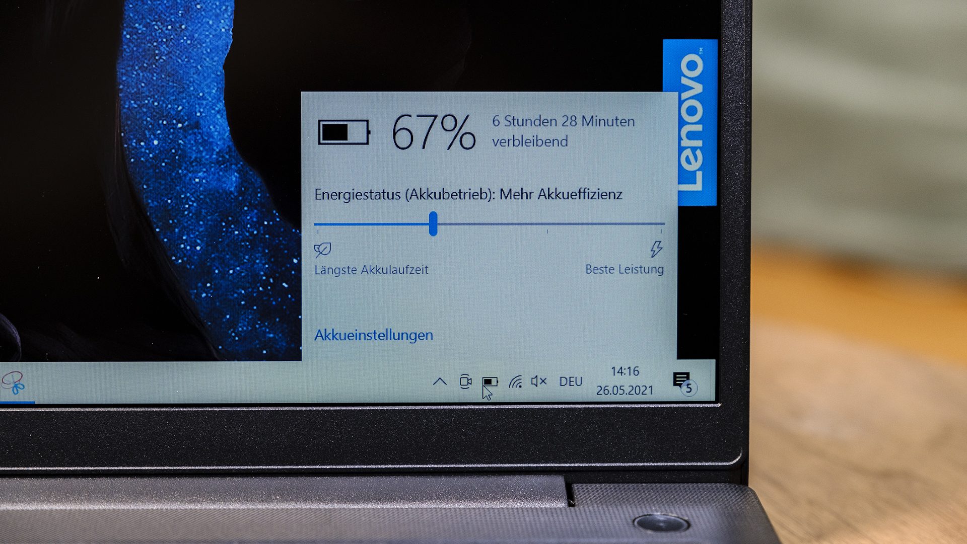 Lenovo V15 G2 Akku Anzeige