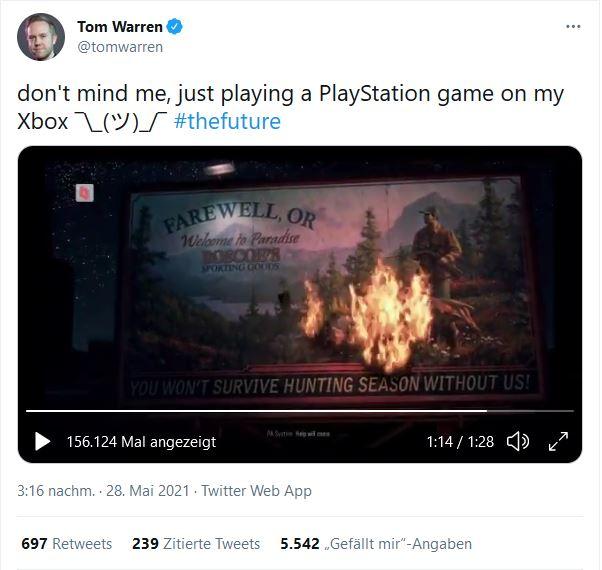 PlayStation Games on Xbox Series X Tom Warren via Twitter