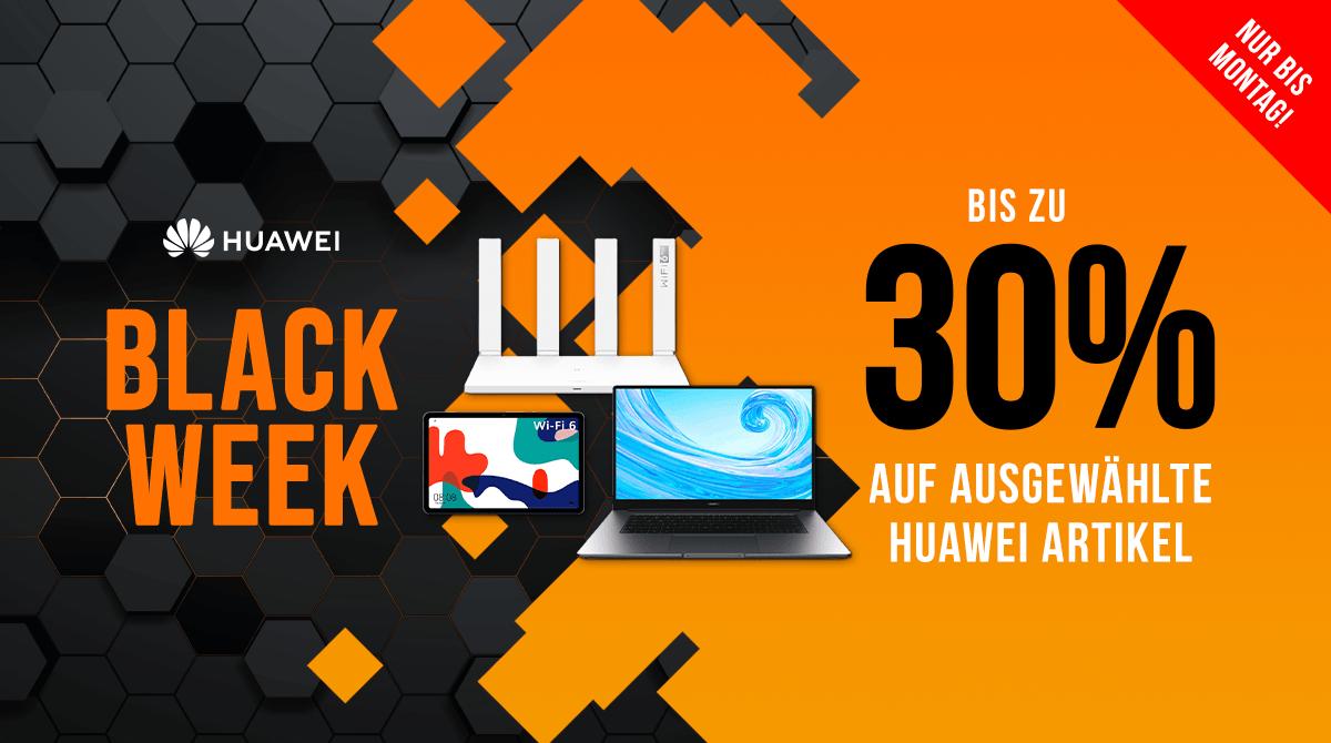 Spare bei der Black Week 15% auf ausgewählte Notebooks & Tablets sowie bis zu 30% auf Router von Huawei