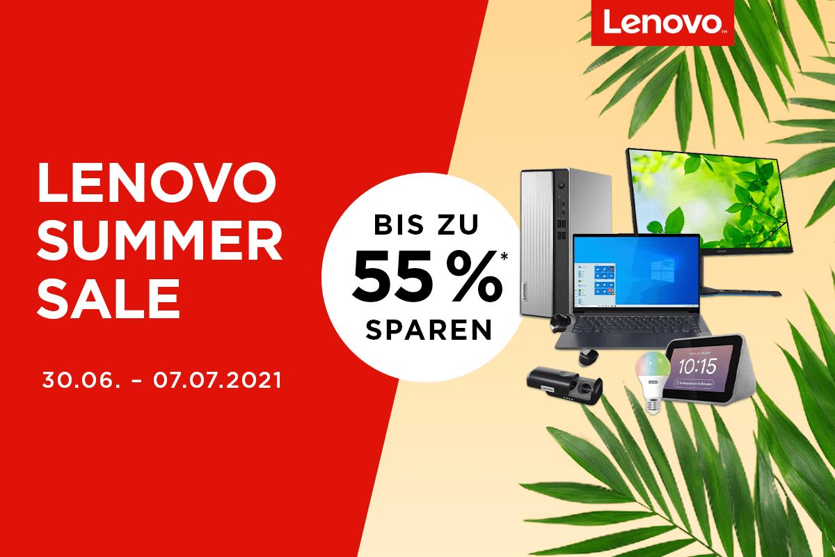 Lenovo Summer Sale – bis zu 55% Rabatt auf ausgewählte Notebooks & mehr