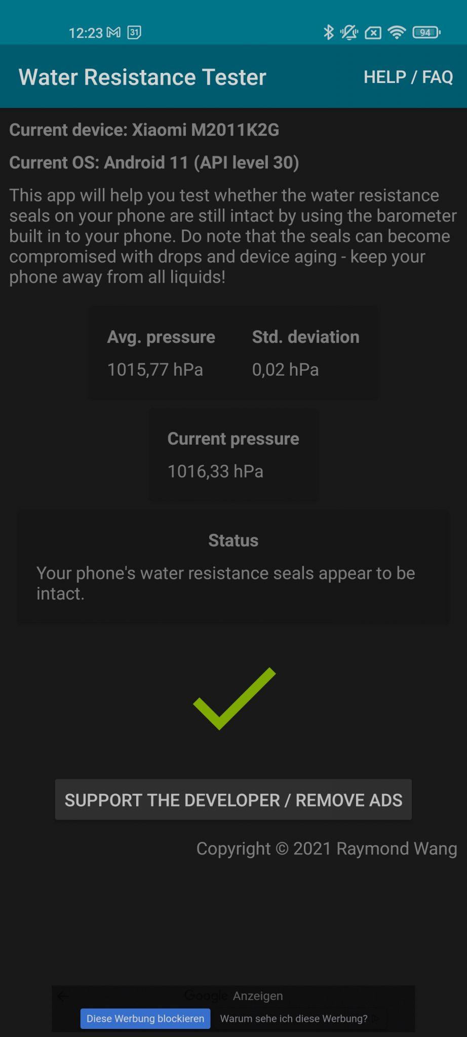 Xiaomi Mi 11 Water Resistance