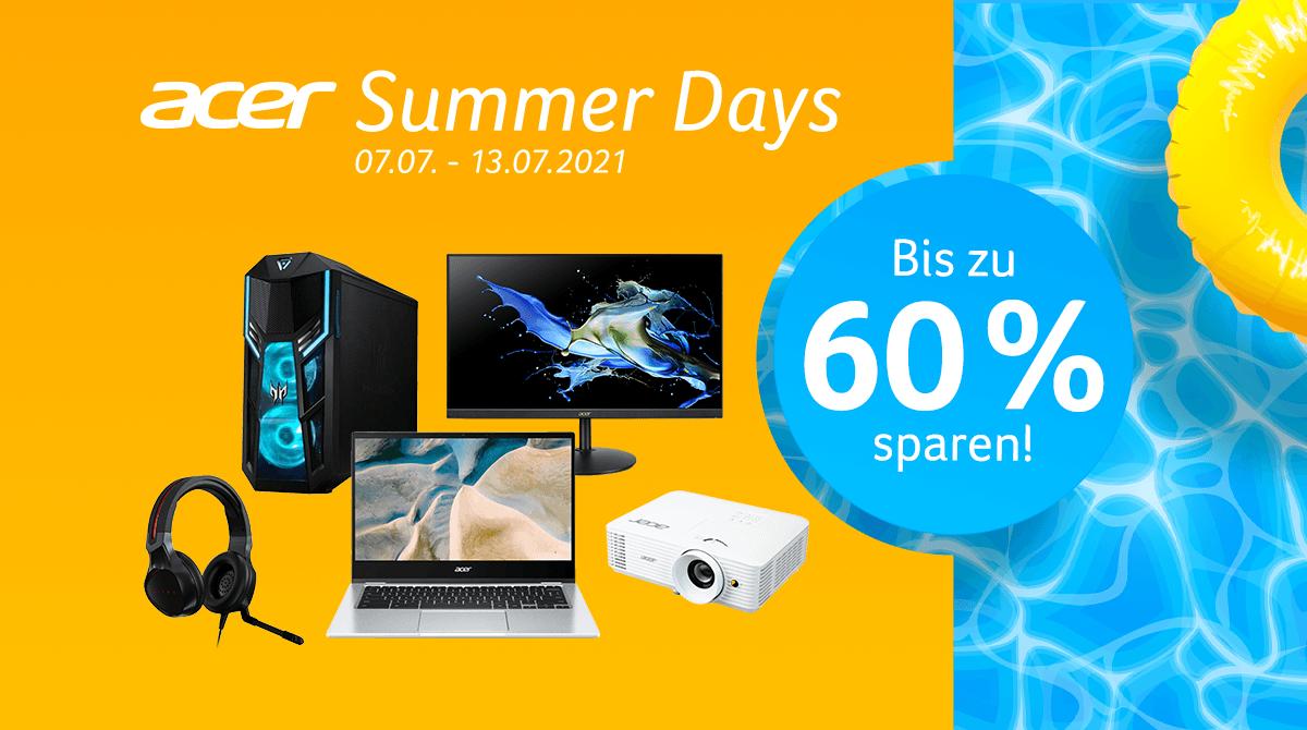 Acer Summer Days: Spart bis zu 60% auf Monitore, PC-Systeme, Chromebooks und mehr!