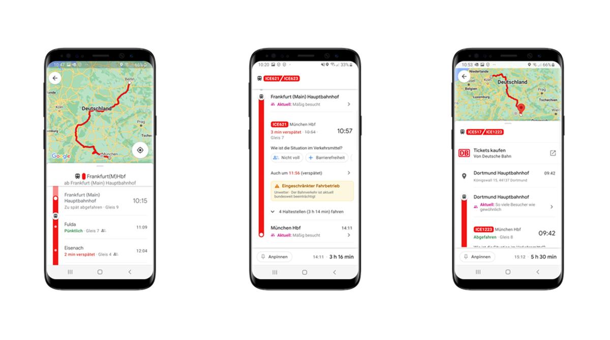 Fortschritt: Google Maps bietet nun Echtzeitdaten der Deutschen Bahn