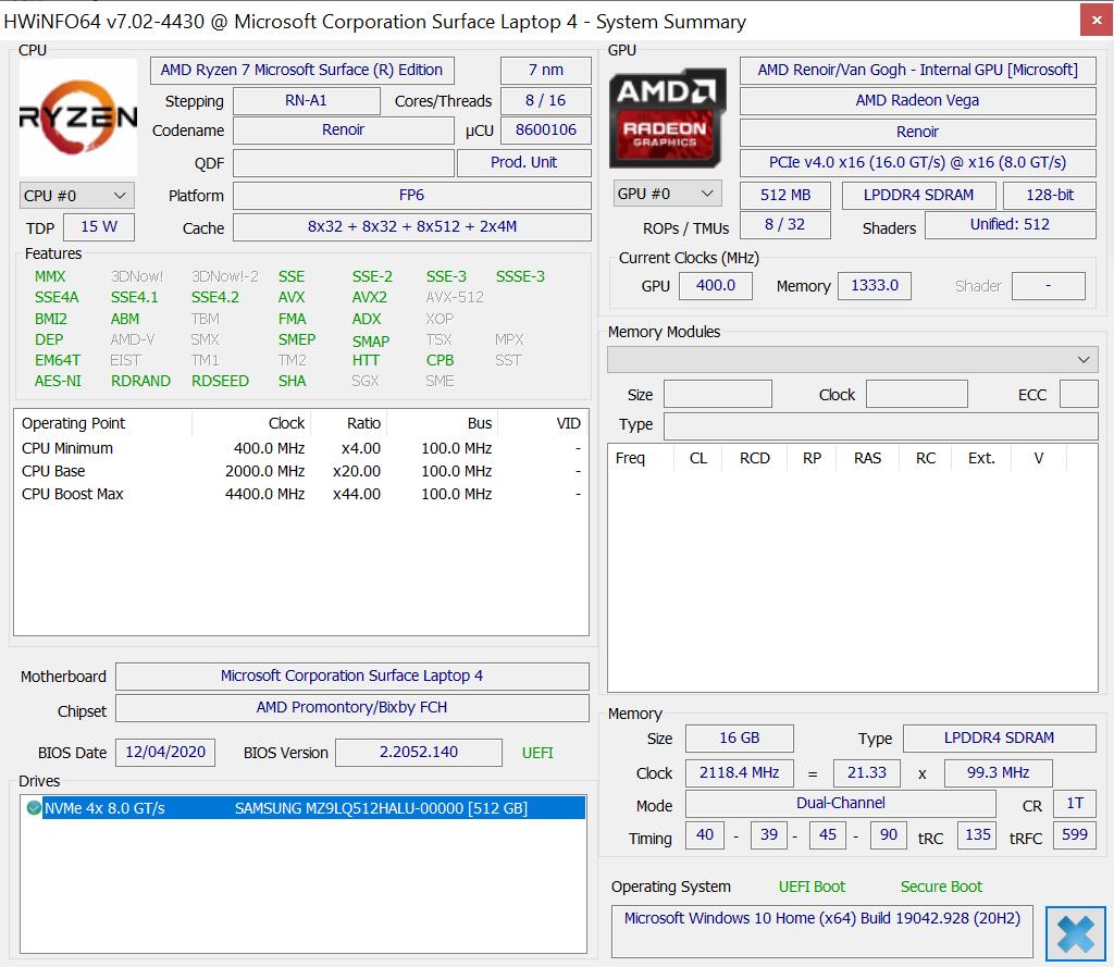 HWInfo Surface Laptop 4 15 AMD Ryzen 7 Specs