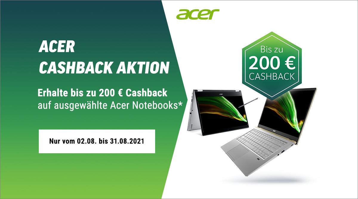 Sicher dir bis zu 200 Euro Cashback auf ausgewählte Acer-Notebooks