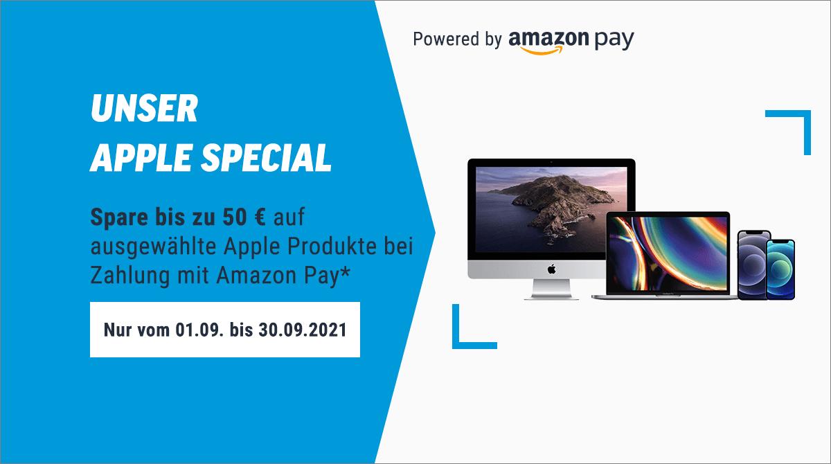 Apple Special (powered by Amazon Pay): Bis zu 50 Euro Rabatt