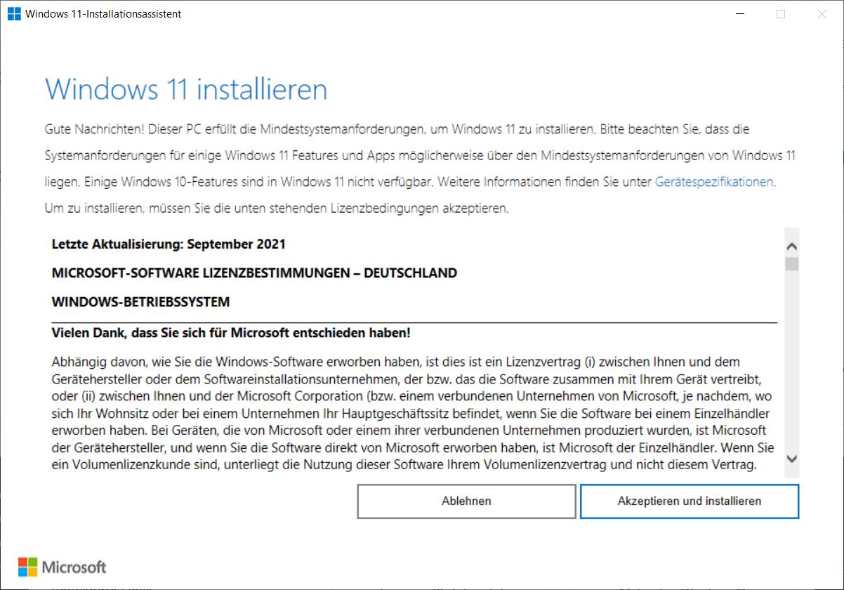 windows 11 mit installations-assistenten installieren